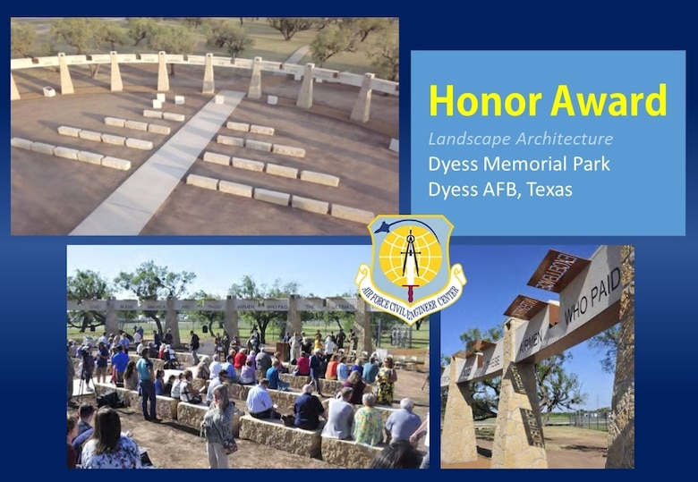 2020 Design Honor Award in the Landscape Architecture category is the Dyess Memorial Park at Dyess AFB, Texas. (U.S. Air Force graphic)