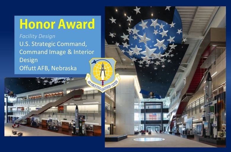 2020 Design Honor Award in the facility design category is the U.S. Strategic Command, Command Image and Interior Design at Offutt AFB, Nebraska. (U.S. Air Force graphic)