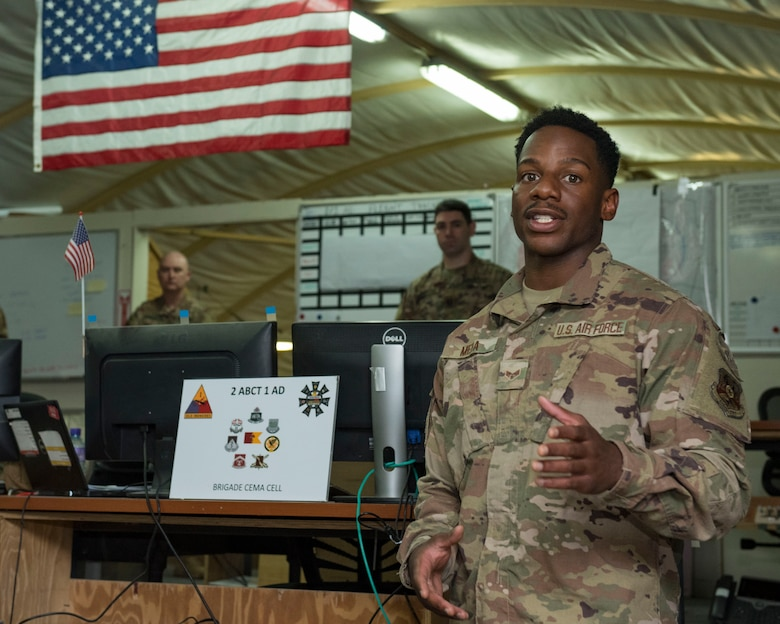 U.S. Air Force Senior Airman Marquise Meda, 22nd Expeditionary Weather Squadron combat weather forecaster, briefs a unit at Camp Buehring, Kuwait, Oct. 2, 2020.