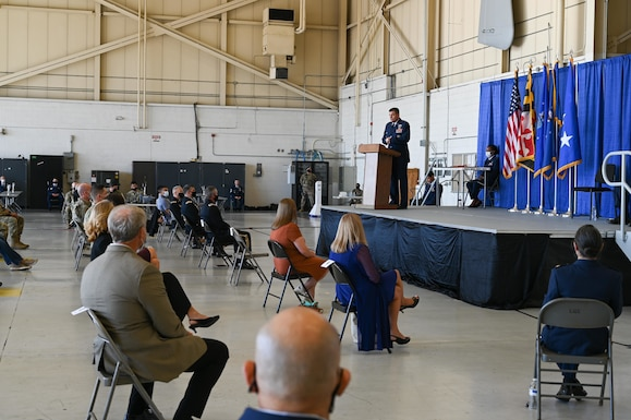 U.S. Air Force Lt. Gen. Michael A. Loh, the 13th director of the Air National Guard, speaks at a retirement ceremony for U.S. Air Force Maj. Gen Paul C. Maas, Jr., the National Guard assistant to the commander, U.S. Cyber Command, director, National Security Agency, and chief, Central Security Service, Oct. 3, 2020 at 175th Wing, Warfield Air National Guard Base, Middle River, Md. Loh presided over the ceremony after spending the day touring the 175th Wing base and speaking with Airmen. (U.S. Air National Guard photo by Senior Airman Sarah M. McClanahan)