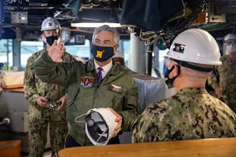 Secretary of the Navy (SECNAV) Kenneth J. Braithwaite speaks with Sailors assigned to the Arleigh Burke-class guided-missile destroyer USS Milius (DDG 69) during a visit to Commander, Fleet Activities Yokosuka (CFAY).