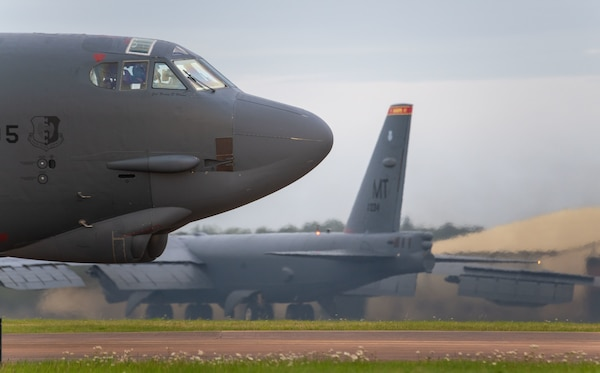 A B-52H Stratofortress assigned to the 5th Bomb Wing, Minot Air Force Base North Dakota, parks on the flightline at RAF Fairford, England, Sept. 4, 2020. Strategic bombers contribute to stability in the European theater, as they are intended to deter conflict rather than instigate it. If called upon, U.S. bombers offer a rapid response capability.