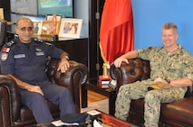 U.S. Naval Forces Central Command/5th Fleet/Combined Maritime Forces Commander Vice Adm. Samuel Paparo met with Bahrain Coast Guard Commander Major General Ala Abdulla Seyadee at the Bahrain Coast Guard Headquarters Oct. 15.