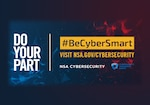 Blue and red background with Do Your Part #BeCyberSmart Visit nsa.gov/cybersecurity in white and yellow text