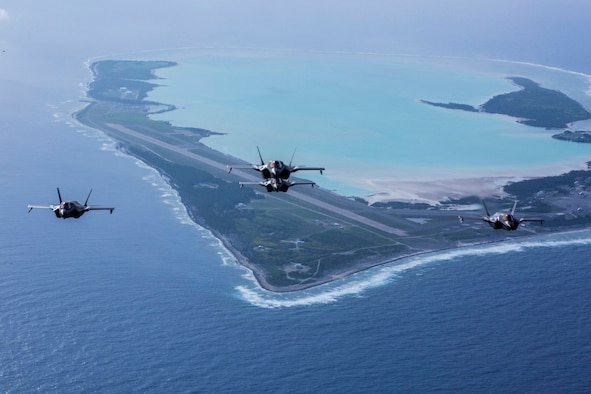F-35B Lightning IIs with Marine Fighter Attack Squadron 211, the Wake Island Avengers, 13th Marine Expeditionary Unit (MEU), fly over Wake Island