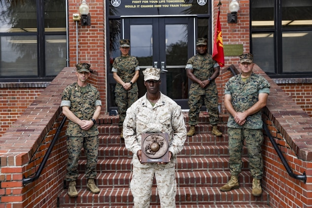 Gunnery Sgt. Nathaniel Baker with Weapons and Field Training Battalion was awarded the Gunnery Sgt. Carlos N. Hathcock II award on Marine Corps Recruit Depot Parris Island, S.C., Sept. 30, 2020. Baker was awarded for his performance while serving as the Hue City Range Officer-in-Charge in 2019.