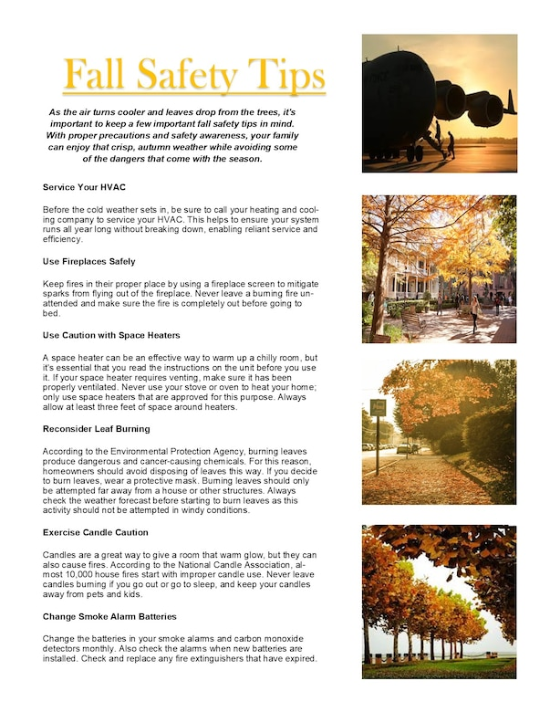 Graphic listing fall safety tips