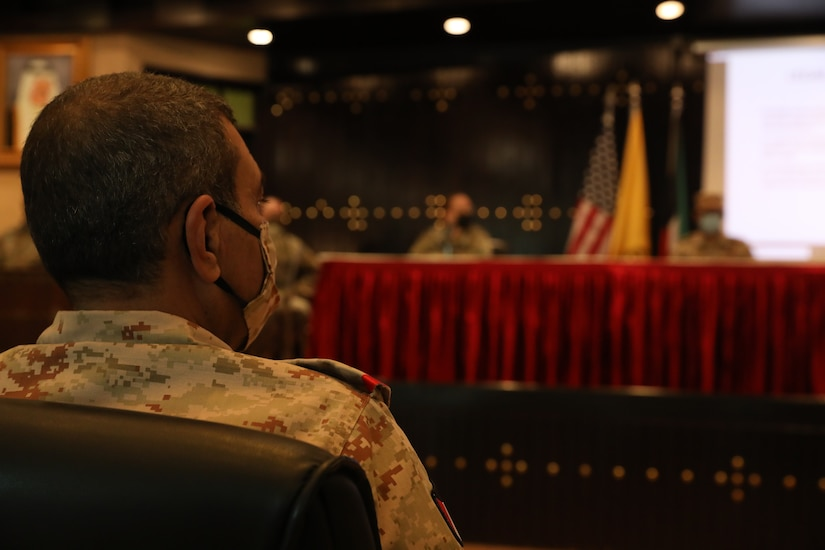 Kuwait Land Forces Brig. Gen. Khaled A. Al-Shualah listens to presenters during a legal exchange in Kuwait on Oct. 12, 2020. The legal exchange brought together military judges from Kuwait, Judge Advocates from the U.S. Army and U.S. Air Force, and Brigade Commanders from the Kuwait Land Forces. (U.S. Army photo by Sgt. Trevor Cullen)