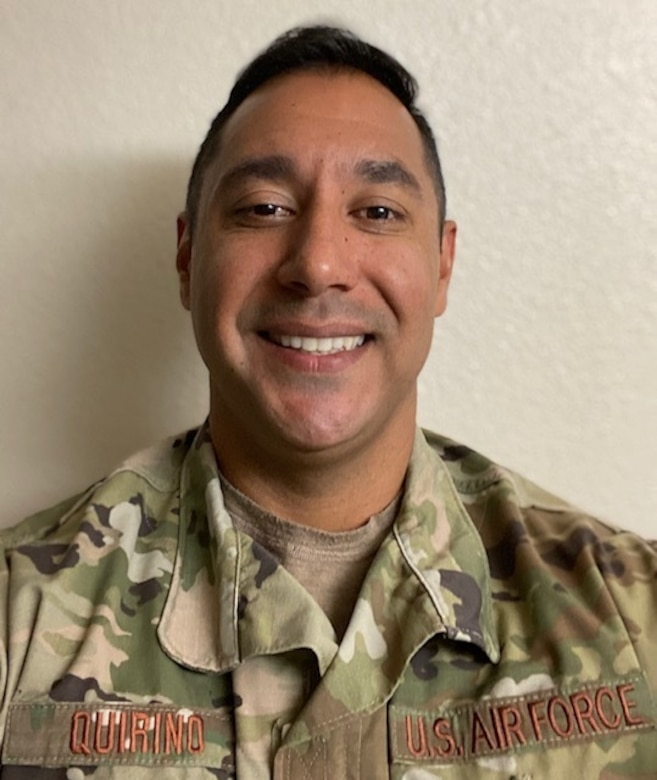 Master Sgt. Manuel Quirino, 352nd Cyberspace Operations Squadron intelligence analyst, recently acted quickly to provide life-saving CPR to an 89-year-old man while running an errand at a local pet store. Quirino credits his CPR training and on-the-job experience as an intelligence analyst for his ability to think critically in a stressful situation. (Courtesy photo)