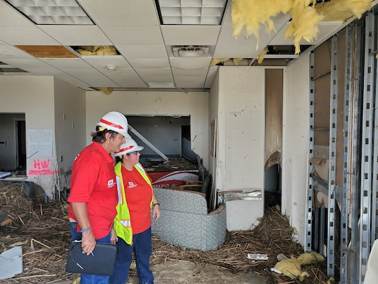 IN THE PHOTO, members of the Infrastructure Assessment Planning and Response Team assess an area damaged by Hurricane Laura in southwestern Louisiana. The Corps evaluated a total of 52 fire stations, 53 water and wastewater facilities, and one hospital while deployed to Louisiana. (Courtesy photo)