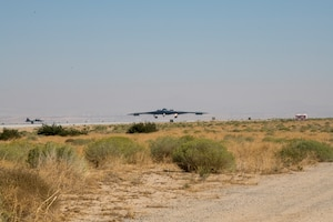 "The ""Spirit of Pennsylvania"" B-2 bomber arrives at Edwards Air Force Base, California, Oct. 2. The aircraft recently finished a programmed depot maintenance (PDM) at the Northrop Grumman at nearby Plant 42. ""The Pennsylvania"" is now assigned to the 419th Flight Test Squadron, as a member of the Global Power Combined Test Force, where it will be the base's new test platform for B-2 flight testing. (Air Force photo by Giancarlo Casem)"