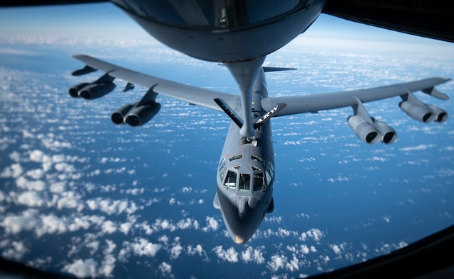 A U.S. Air Force B-52H Stratofortress aircraft from the 2nd Bomb Wing, Barksdale Air Force Base, Louisiana, receives fuel from a KC-135 Stratotanker aircraft from the 100th Air Refueling Wing, Royal Air Force Mildenhall, England, during a Bomber Task Force mission off the Scottish coast Oct. 14, 2020. Strategic bombers contribute to stability in the European theater, as they are intended to deter conflict rather than instigate it. If called upon, U.S. bombers offer a rapid response capability. (U.S. Air Force photo by Tech. Sgt. Emerson Nuñez)