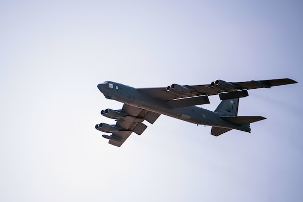 A B-52H Stratofortress from Barksdale Air Force Base, Louisiana, prepares to land, Aug. 26, 2020, at Minot Air Force Base, North Dakota. As the only other B-52 base, Minot has considerable infrastructure and support to ensure the Air Force Global Strike Command mission is not impacted.