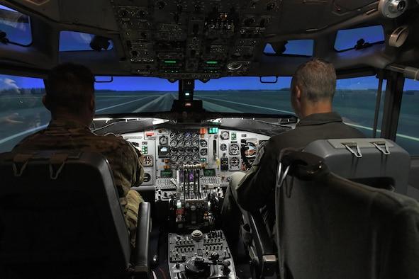 men in flight simulator