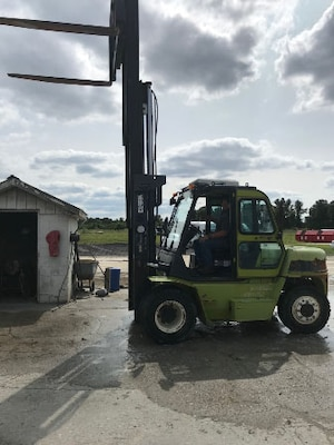 A forklift awaits service at the Duplin County Sheriff's Department after being acquired as an excess military item at DLA Disposition Services at Camp Lejeune, North Carolina.