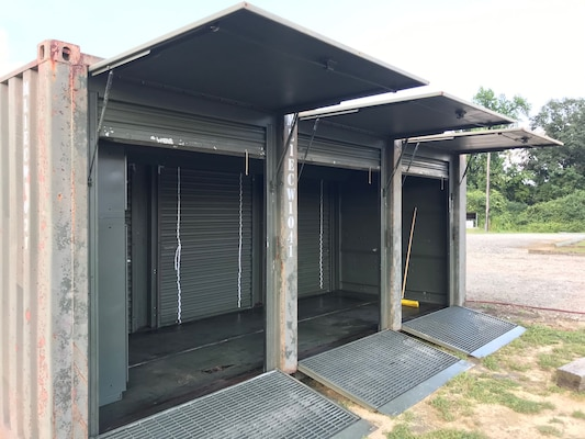 A former shipping container now serves as an area for storing parts and servicing other excess military items the Duplin County Sheriff's Department also acquired from DLA Disposition Services at Camp Lejeune, North Carolina.
