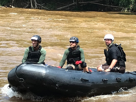 Duplin County Sheriff's Department deputies perform swift water training to prepare for future emergencies using inflatable boats previously acquired from DLA Disposition Services at Camp Lejeune, North Carolina.