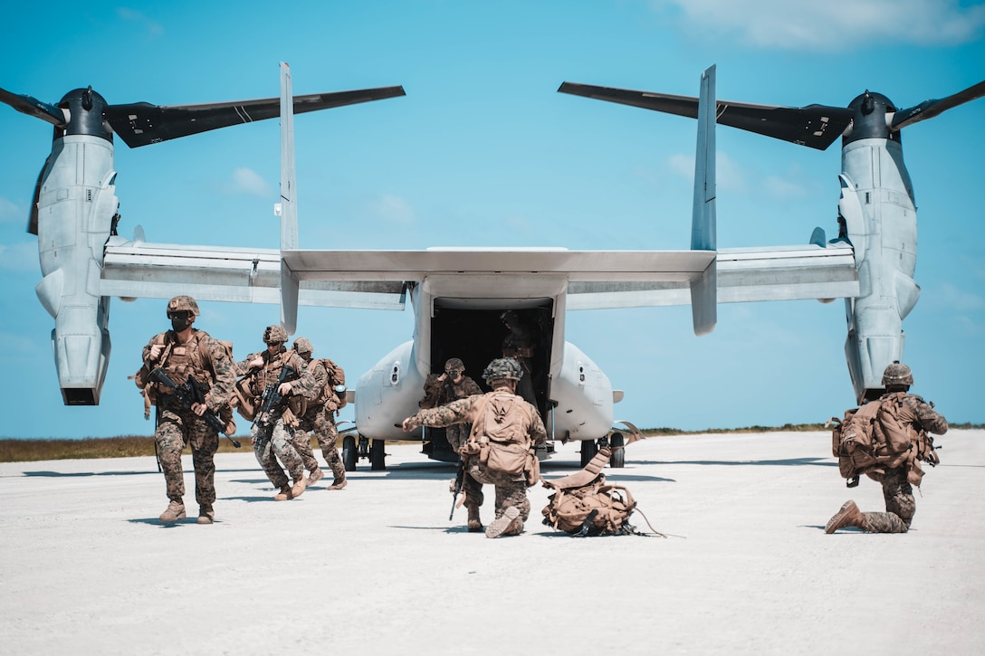 U.S. Marines demonstrate expeditionary advanced basing capabilities in Okinawa, Japan, Oct. 7.