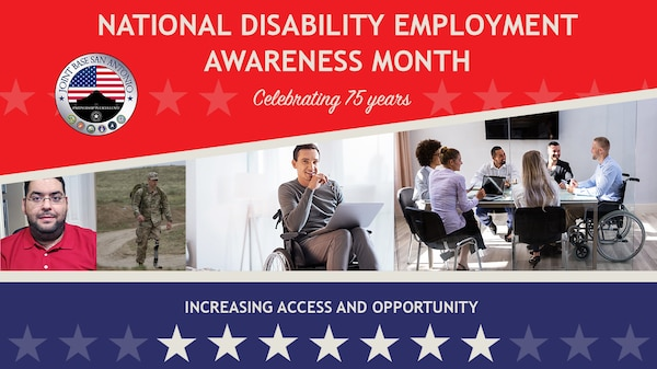 Andy Smith, far left, applied for a position through Schedule A, a hiring authority which allows federal agencies to hire individuals with disabilities directly into the workforce. Smith, who is wheelchair-bound due to cerebral palsy, now works as a foreign affairs specialist.at the Air Force Security Assistance Training Squadron.
