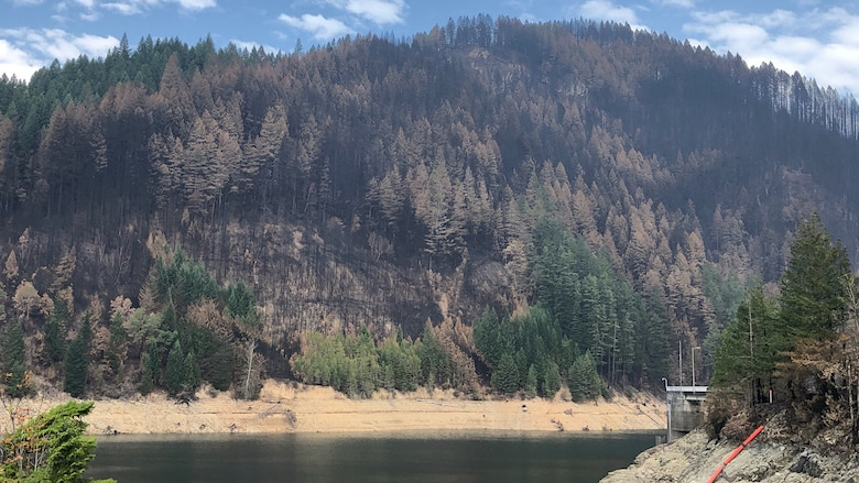 A view of the reservoir at Blue River Dam shows adjacent hillsides scorched by the Holiday Farm Fire, which started about an hour east of Eugene following historic winds that arrived in the area Sept. 7. The fire reached Blue River and nearby Cougar Dam.