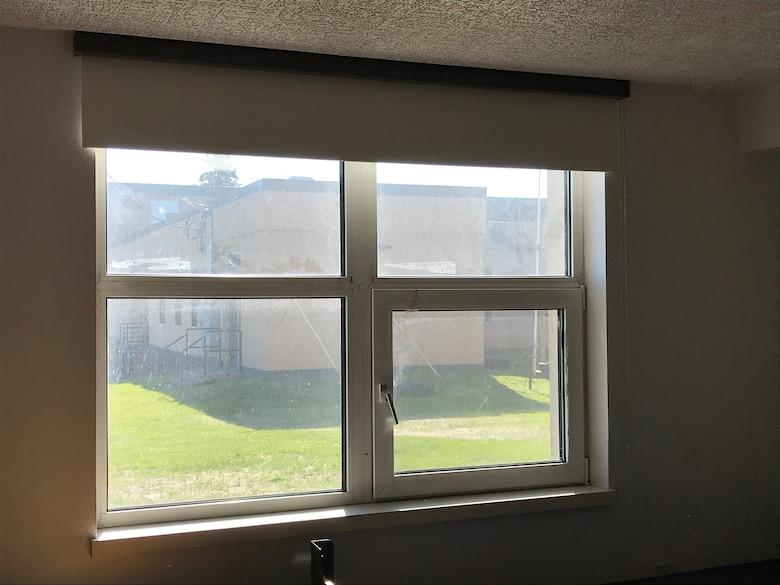 Pictured is an installed blackout shade in a barrack on Fort Wainwright.