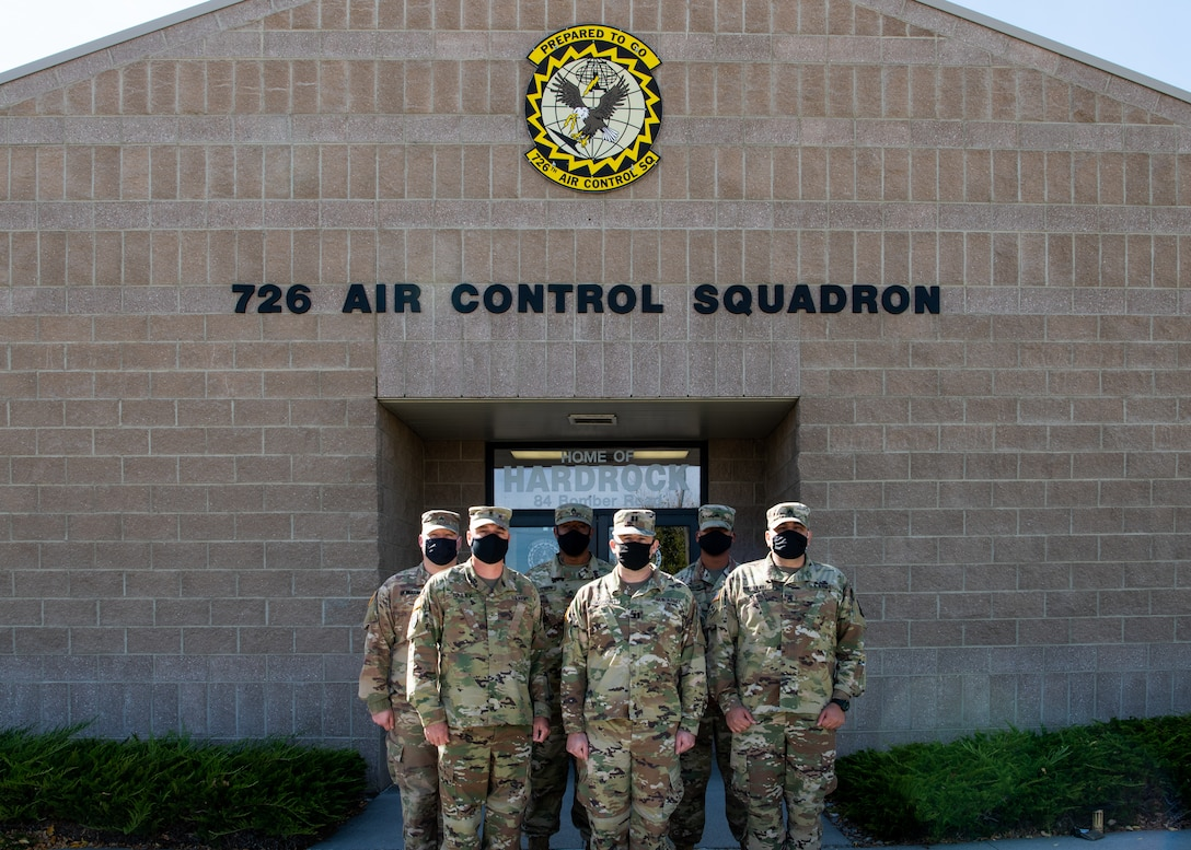 U.S. Army Soldiers from the 31st Air Defense Artillery Defense Brigade pose for a photo at Mountain Home Air Force Base, Idaho, October 14, 2020. The 726th Air Control Squadron and the 31st Air Defense Artillery Defense Brigade have integrated their radar, communication networks and defense systems to increase readiness and joint operation efficiency for when they deploy together in the future. (U.S. Air Force photo by Senior Airman Andrew Kobialka)