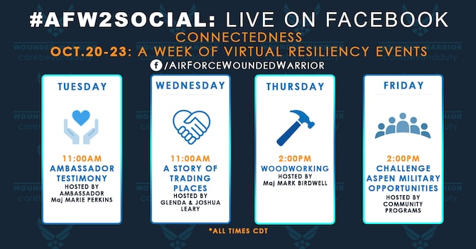 Weekly live events for social media, 20-23 October. (U.S. Air Force Graphic by Melissa Espinales)