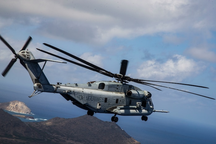 A CH-53 Super Stallion with Marine Heavy Helicopter Squadron 463 maneuvers during a casualty evacuation exercise, Marine Corps Base Hawaii, Oct. 8, 2020. The exercise aimed to increase the expeditionary readiness of Marines within HQBN. (U.S. Marine Corps photo by Lance Cpl. Shane Linder)