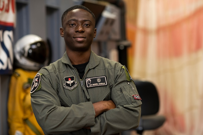 Airman 1st Class Gaddiel Acquaah, a 47th Operations Support Squadron aerospace physiology technician, poses for a photo at Laughlin Air Force Base, Texas, Oct. 2, 2020. Acquaah plays an important role in Laughlin's mission of training future combat aviators. He instructs pilots and aircrew members on how to expertly handle any in-flight emergencies and teaches them the physiological effects flying has on their bodies. (U.S. Air Force photo by Senior Airman Marco A. Gomez)