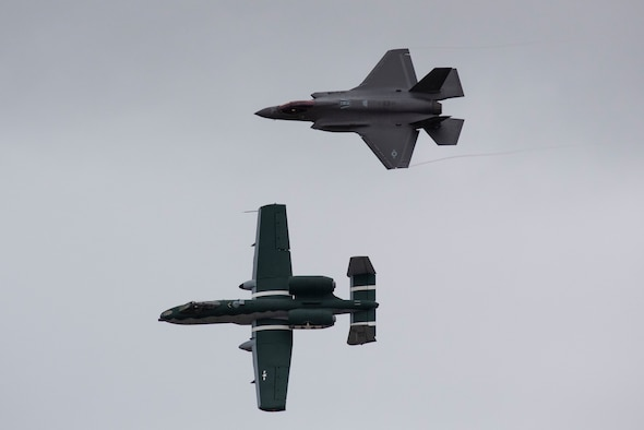 A-10 Thunderbolt II and F-35 Lightning II fly side by side together through the sky over Laughlin Air Force Base, Texas, Oct. 13, 2020. The pilots flew over the base to show the capabilities of the jets to the student pilots. (U.S. Air Force photo by Airman 1st Class David Phaff)