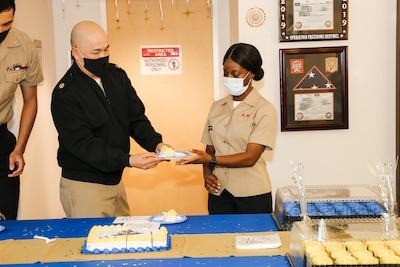 Navy Medicine Readiness and Training Command Lemoore celebrate Navy's 245th birthday.