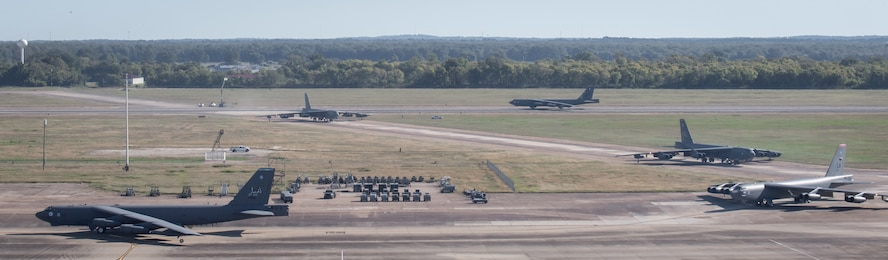 B-52H Stratofortresses from the 2nd Bomb Wing maneuver along the runway at Barksdale Air Force Base, La., Oct. 14, 2020.