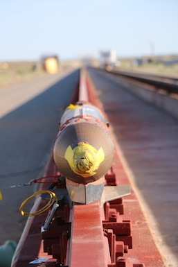 A rocket sled is shown just before launch on the Holloman High Speed Test Track at Holloman Air Force Base, New Mexico. The 9-inch monorail sled was launched as part of the Hypersonic Readiness program, which is a series of tests being conducted by the 846th Test Squadron at Holloman to prepare for future rocket sled testing to support programs and projects including the Hypersonic Test and Evaluation Investment Portfolio and the Air-Launched Rapid Response Weapon, as well as hypersonic sled tests for other customers. (U.S. Air Force photo)