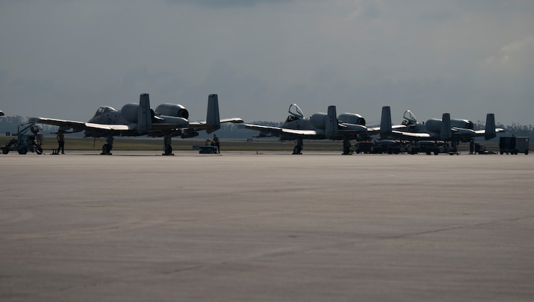 A-10 aircrafts on the flightline