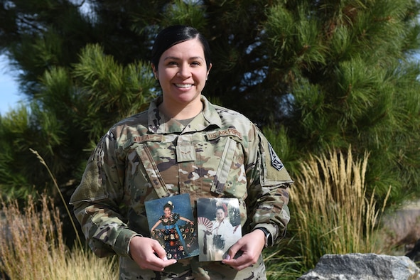Airman 1st Class Malanie Villa, Buckley Garrison military justice paralegal, poses for a photo on Buckley Air Force Base, Colo. Villa lived in San Antonio her whole life before joining the military in 2019. While living in San Antonio, she participated in Folklorico dance for 19 years to teach her more about Hispanic culture from various regions of Mexico. (U.S. Space Force photo by Airman 1st Class Haley N. Blevins)