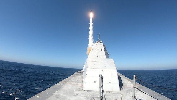 USS Zumwalt (DDG 1000) successfully executed the first live fire test of the MK 57 Vertical Launching System with a Standard Missile (SM-2)