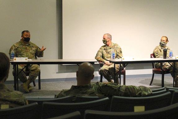 Sgt. Maj. Brian Hess, the senior non-commissioned officer in G-3/5/7 at the 377th Theater Sustainment Command who served as a panelist in the forum, speaks about the dangers of unconscious bias at the headquarters building in Belle Chasse, La., Oct. 14, 2020.