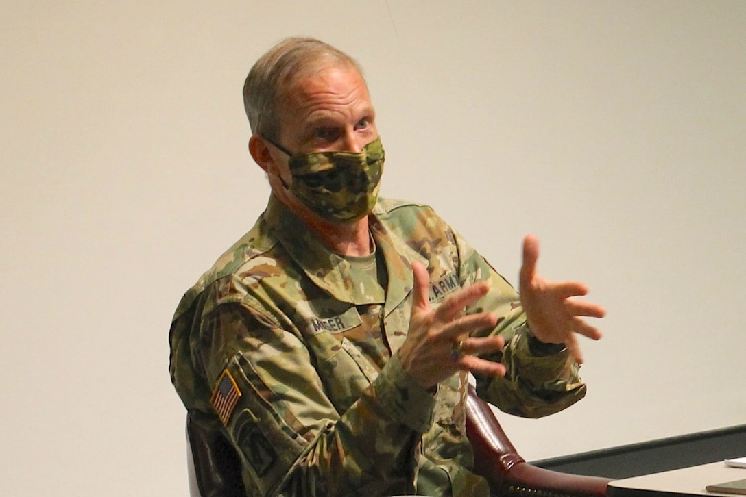 Maj. Gen. Gregory Mosser, commanding general of the 377th Theater Sustainment Command, discusses the tenets of Project Inclusion with panelists and audience members during a forum at the headquarters building in Belle Chasse, La., Oct. 14, 2020.