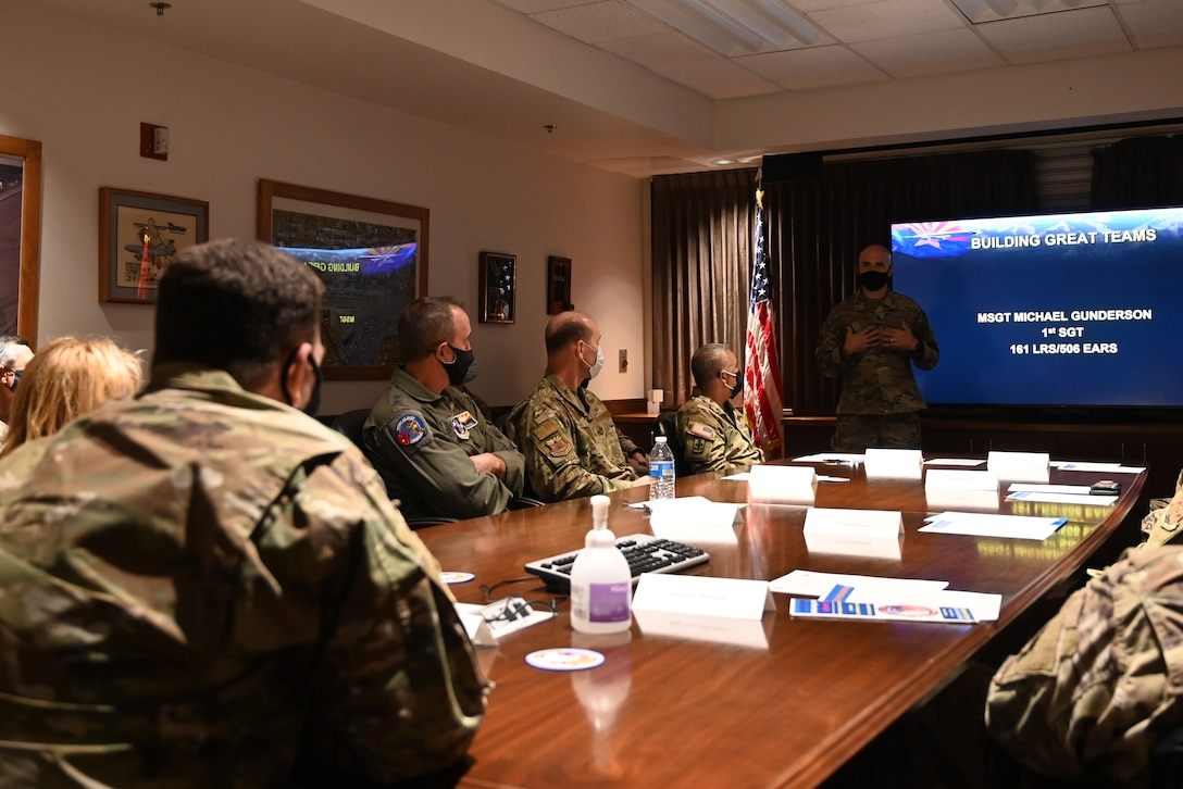 U.S. Air Force Lt. Gen. Michael A. Loh, Director of the Air National Guard speaks with members of the 161st Air Refueling Wing at Goldwater Air National Guard Base in Phoenix, Oct. 16, 2020. Loh visited the wing to meet with Airmen and getting familiarized with the wing's mission contributions.