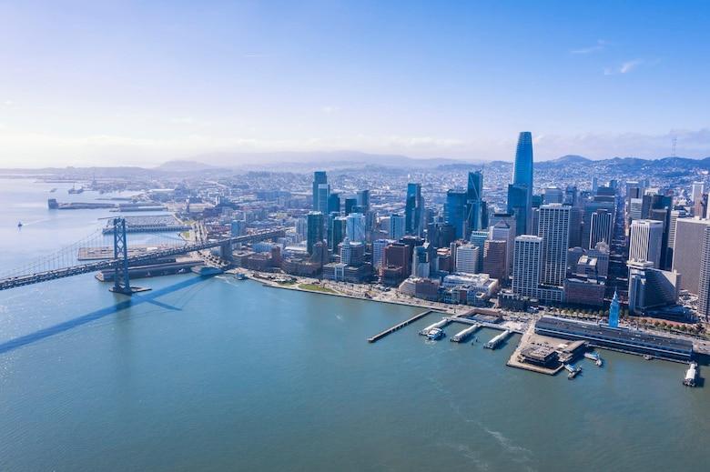 Aerial photo taken of the San Francisco Waterfront.