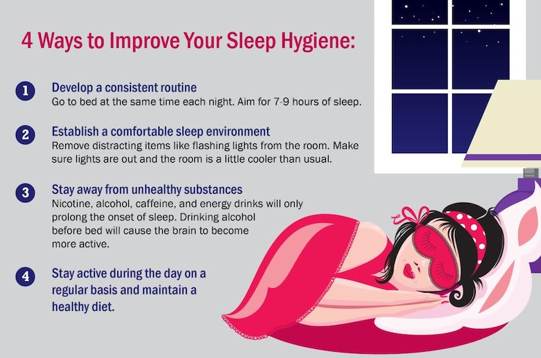 Four ways to improve sleep hygiene: establish a routine, going to bed at the same time every night. Establish a comfortable sleep environment without distracting items like flashing lights. Stay away from unhealthy substances like nicotine, alcohol, caffeine and energy drinks. Stay active during the day on a regular basis and maintain a healthy diet.