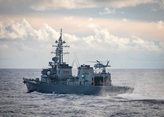 The U.S., JMSDF, and Royal Australian Navy conduct trilateral exercises in the South China Sea.