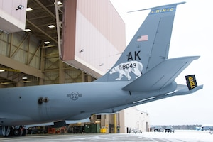 A KC-135 Stratotanker from the Alaska Air National Guard's 168th Wing was unveiled showcasing a new tail flash on the wing's aircraft, Oct. 15, 2020. In collaboration with Tanana Chiefs Conference, the 168th Wing honors interior communities on the wing's aircraft. The first KC-135 honors Minto and is one of nine aircraft representing Alaska interior communities. The next to be unveiled will honor Gwichyaa Zhee, Grayling, Huslia, Tetlin, Telida, and Tanana. Fairbanks and the North Pole will be displayed on the final two aircraft.
