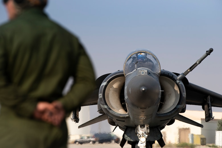 An AV-8B II Harrier taxis onto the flightline, at Mountain Home Air Force Base, Idaho, Oct. 8, 2020. Marine Attack Squadron 542 and Marine Wing Support Squadron 271 worked closely with 366th Logistics Readiness Squadron fuels flight and provided aviation fuel, heavy equipment and utilities support for exercise Mountain Tiger. (U.S Air Force photo by Airman 1st Class Natalie Rubenak)