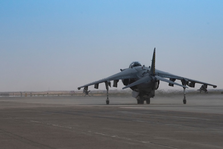 An AV-8B II Harrier from the Marine Attack Squadron 542, taxis down the flightline for exercise Mountain Tiger, at Mountain Home Air Force Base, Idaho, Oct. 8, 2020. VMA 542 and Marine Wing Support Squadron 271 worked closely with 366th Logistics Readiness Squadron fuels flight and provided aviation fuel, heavy equipment and utilities support for exercise Mountain Tiger. (U.S Air Force photo by Airman 1st Class Natalie Rubenak)
