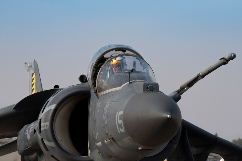 An AV-8B II Harrier with Marine Attack Squadron 542, taxis to the refueling pit, at Mountain Home Air Force Base, Idaho, Oct. 8, 2020. VMA 542 and Marine Wing Support Squadron 271 worked closely with 366th Logistics Readiness Squadron fuels flight and provided aviation fuel, heavy equipment and utilities support for exercise Mountain Tiger. (U.S Air Force photo by Airman 1st Class Natalie Rubenak)