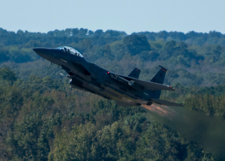 An F-15E Strike Eagle from the 333rd Fighter Squadron takes off at Seymour Johnson Air Force Base, North Carolina, Oct. 2, 2020.