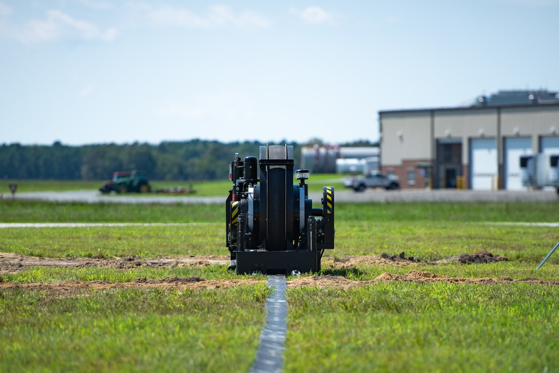A photo of a mobile arrestor system sitting on the airfield at the 177th Fighter Wing.