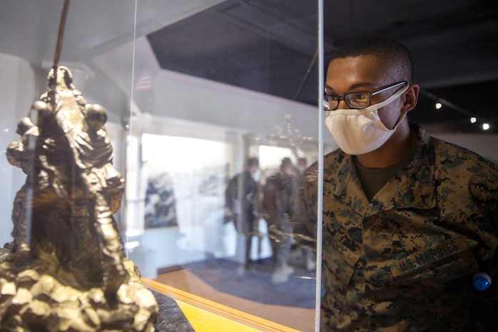 WEEKLY TOP SHOT! TOP SHOT WINNER! You voted and we listened, here is this week's winner!!  Pfc. Dreyson R. A. Owens with Bravo Company, 1st Recruit Training Battalion, observes a display during his visit to the Marine Corps Recruit Depot San Diego Command Museum, Oct. 14, 2020. Marines visited the museum to learn about their history and traditions. (U.S. Marine Corps photo by Cpl. Brooke C. Woods)