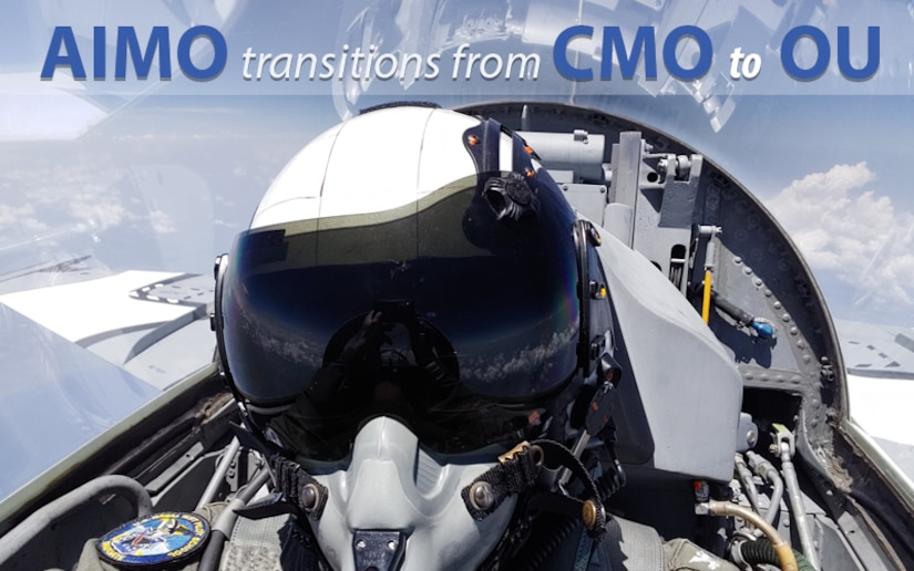 "Graphic of F-16 jet with text ""AIMO transitions from CMO to OU."""